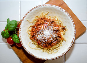 Spaghetti Bolognaise. A rich, slow-cooked bolognaise sauce with our own minced beef and served with Italian spaghetti.