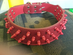 Colored Spiked 2 inch Leather Collars