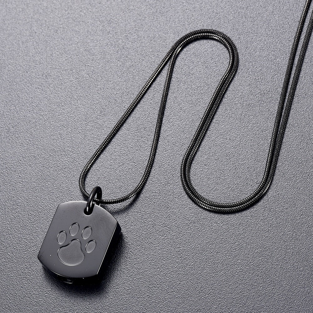 Black Paw Print Urn/Memorial Necklace(DS012)