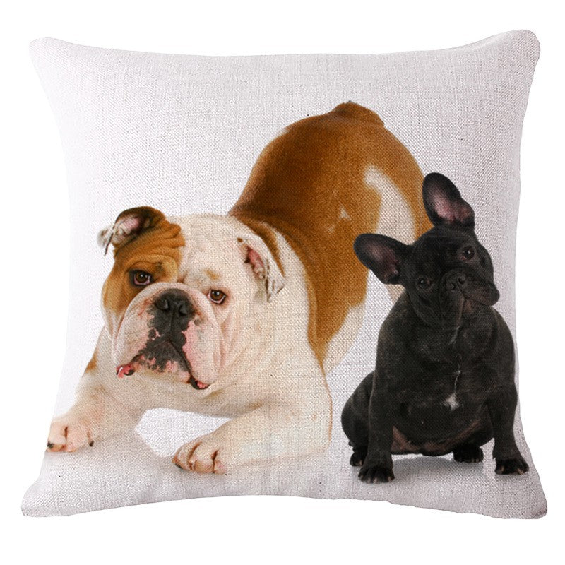 Pillow(HD043) Play time?? French Bulldog and English Bulldog