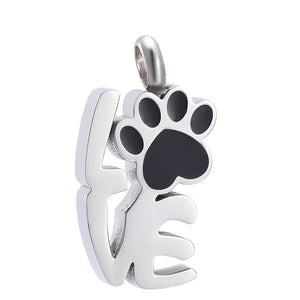 Silver with Black Paw LOVE Urn/Memorial Necklace(UR005)