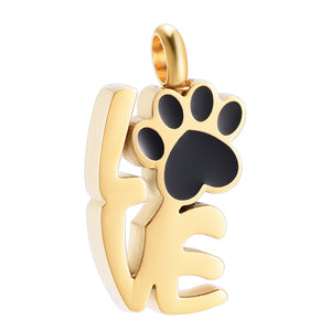 Gold with Black Paw LOVE Urn/Memorial Necklaces(UR003)