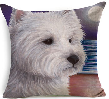 Pillow(HD002)West Highland Terrier Painted Head