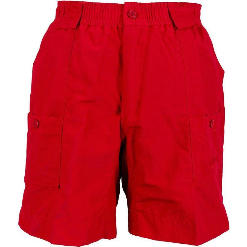 AFTCO MFG Men's Shorts Aftco Original Fishing Shorts Long - Red || David's Clothing