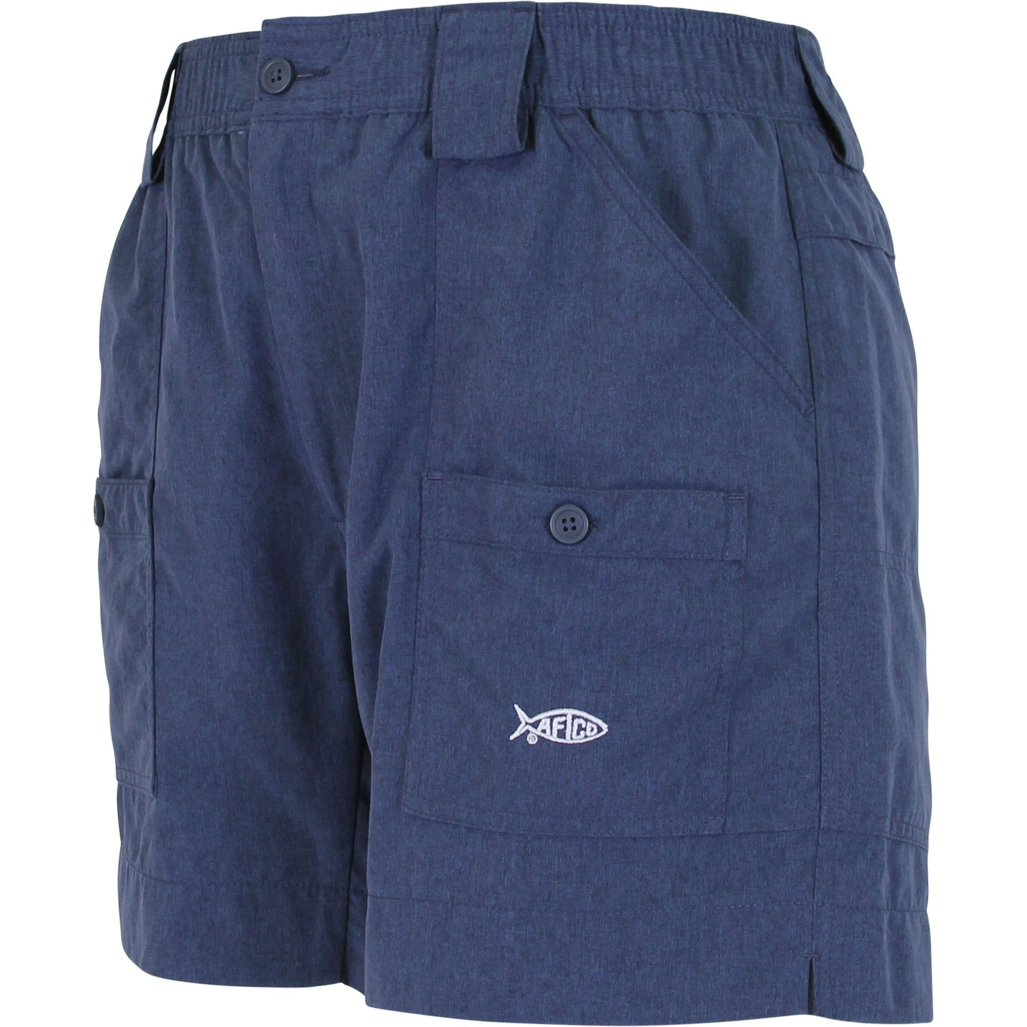 AFTCO MFG Men's Shorts NAVY HEATHER / 28 Aftco Heather Original Fishing Shorts - 6 Inch || David's Clothing ME4NVYH
