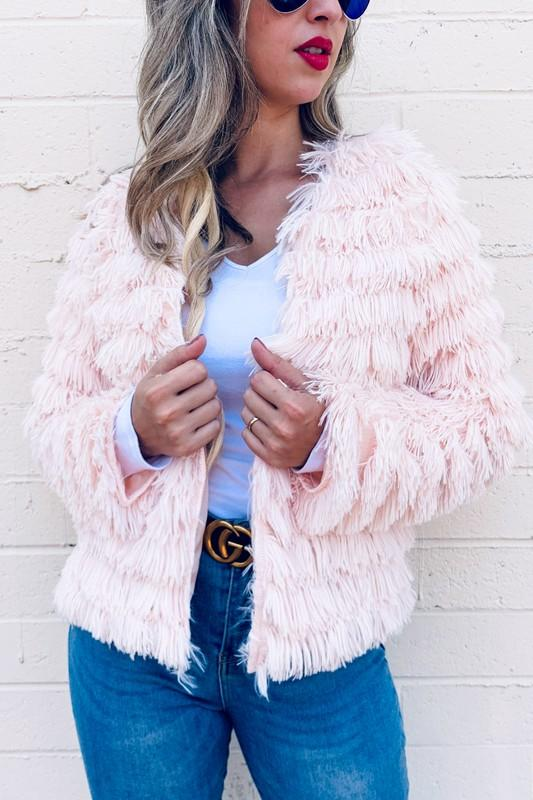 Amoli Women Jackets BLUSH / S Faux Fur Fringe Jacket Coat Cardigan || David's Clothing AM13001