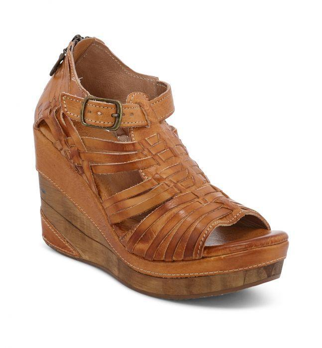 Bed Stu Women's Shoes Bedstu Women's Wedge Ellie II - Mustard Rustic || David's Clothing