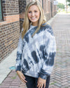 BLUE BUTTERCUP Women's Sweater Color Contrast Tie Dyed Sweatshirt || David's Clothing