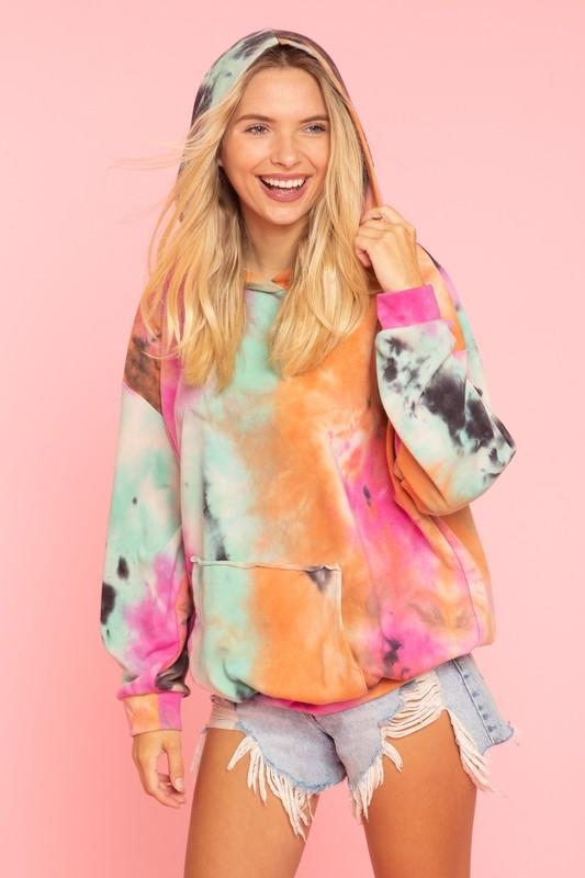 BLUE BUTTERCUP Women's Sweater Tie Dyed Hooded Sweatshirt || David's Clothing