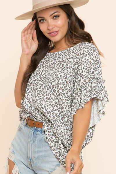 BLUE BUTTERCUP Women's Top Leopard Ruffled Sleeve All Over Top || David's Clothing