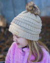 CC Beanies Girl's Hat Beige / one size CC Beanie Girl's Fur Pom Beanie || David's Clothing 721676