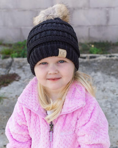CC Beanies Girl's Hat Black / one size CC Beanie Girl's Fur Pom Beanie || David's Clothing 721677
