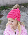 CC Beanies Girl's Hat Candy Pink / one size CC Beanie Girl's Fur Pom Beanie || David's Clothing 721684