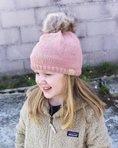 CC Beanies Girl's Hat CC Beanie Kids Rhinestone Star Fur Pom Beanie || David's Clothing