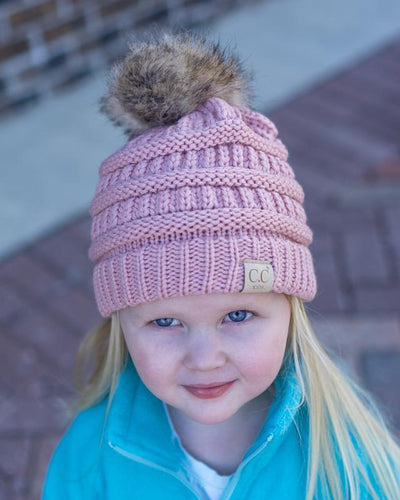 CC Beanies Girl's Hat Indi Pink / one size CC Beanie Girl's Fur Pom Beanie || David's Clothing 721678