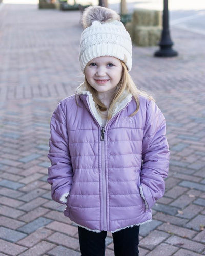 CC Beanies Girl's Hat Ivory / one size CC Beanie Girl's Fur Pom Beanie || David's Clothing 721679