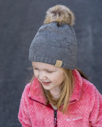CC Beanies Girl's Hat Melange Grey / one size CC Beanie Kids Rhinestone Star Fur Pom Beanie || David's Clothing 721671