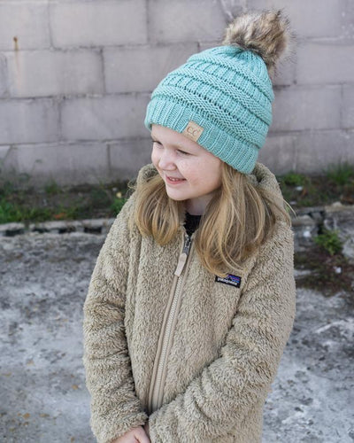 CC Beanies Girl's Hat Mint / one size CC Beanie Girl's Fur Pom Beanie || David's Clothing 721681