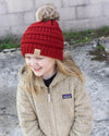 CC Beanies Girl's Hat Red / one size CC Beanie Girl's Fur Pom Beanie || David's Clothing 721685