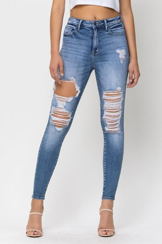 CELLO JEANS Women's Pants Cello High Rise Distress Ankle Skinny || David's Clothing