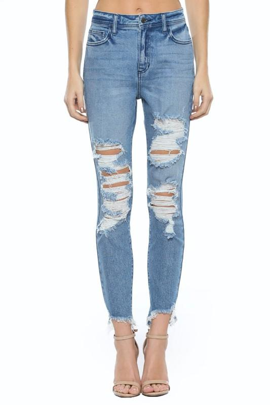 CELLO JEANS Women's Pants Cello High Rise Distress Mom Skinny || David's Clothing