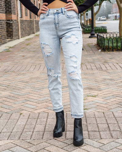CELLO JEANS Women's Pants Cello High Rise Double Rolled Distress Mom Crop Skinny || David's Clothing