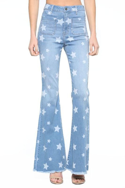 CELLO JEANS Women's Pants Cello High Rise Star Print Flare Jean || David's Clothing