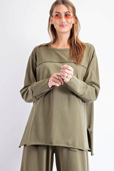 EASEL 21-Women's Knit Top The Boxy Sweater || David's Clothing