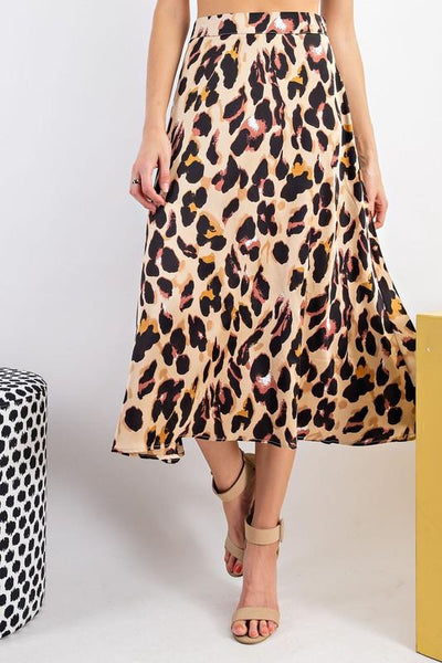 EASEL Women's Skirts Animal Printed Dull Satin A Line Maxi Skirt || David's Clothing