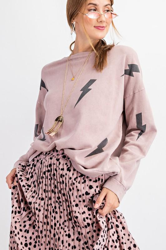 EASEL Women's Sweater Stuck By Lightning Bolt Pullover || David's Clothing