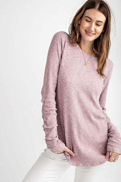 Easel Women's Top Easel Ribbed Knit Long Sleeve Tunic Top || David's Clothing