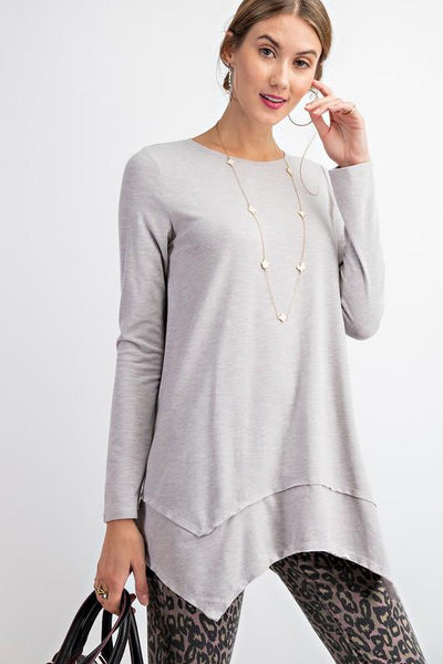 EASEL Women's Top GREY / S Sharkbite Tunic Top || David's Clothing ET10638