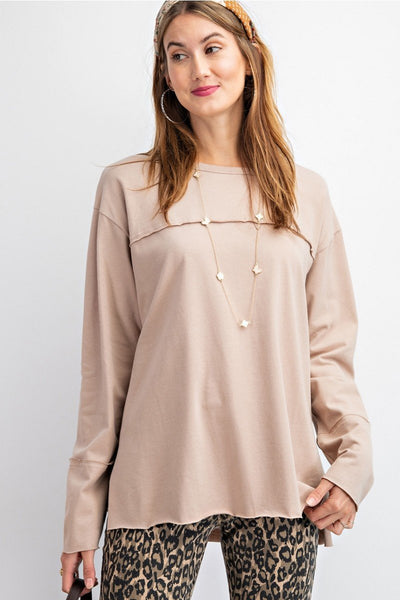EASEL Women's Top KHAKI / S The Boxy Sweater || David's Clothing ET15404