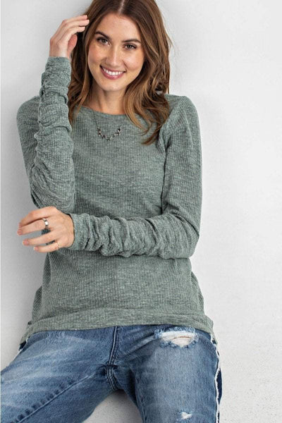 Easel Women's Top S / Wormwood Easel Ribbed Knit Long Sleeve Tunic Top || David's Clothing ET10637
