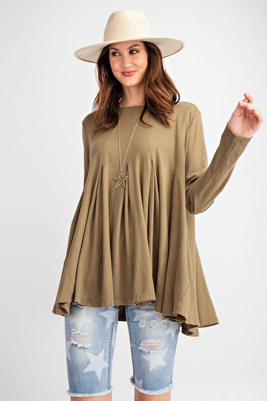 EASEL Women's Top S / OLIVE Sabree Swingy Tunic Top || David's Clothing ET13253