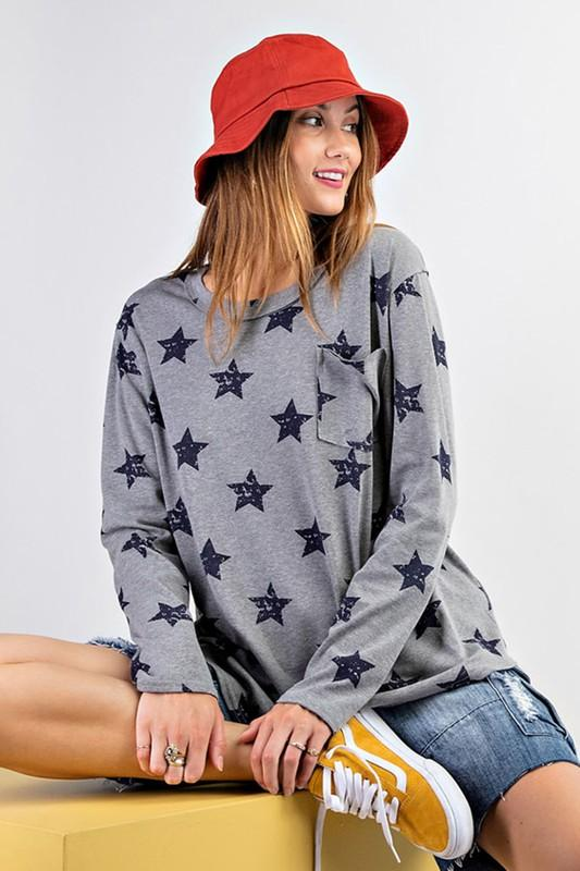 EASEL Women's Top Star Printed Loose Fit Top || David's Clothing