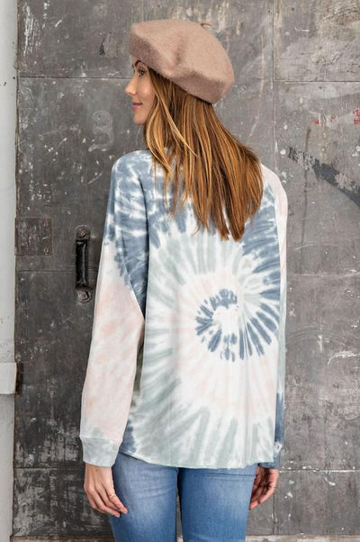 EASEL Women's Top Tie Dye Crew Neck Pullover || David's Clothing