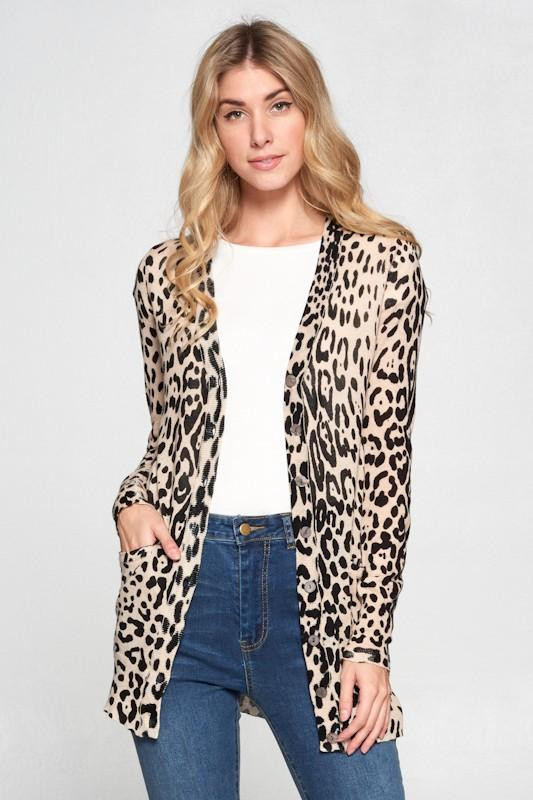 ELLISON Women's Cardigans Leopard Printed Cardigan With Buttons || David's Clothing