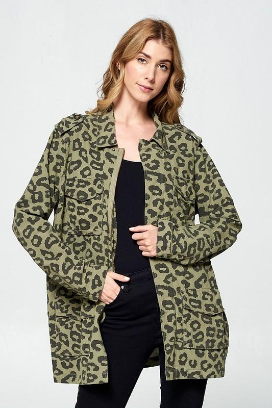 ELLISON Women's Outerwear Leopard Print Utility Jacket || David's Clothing