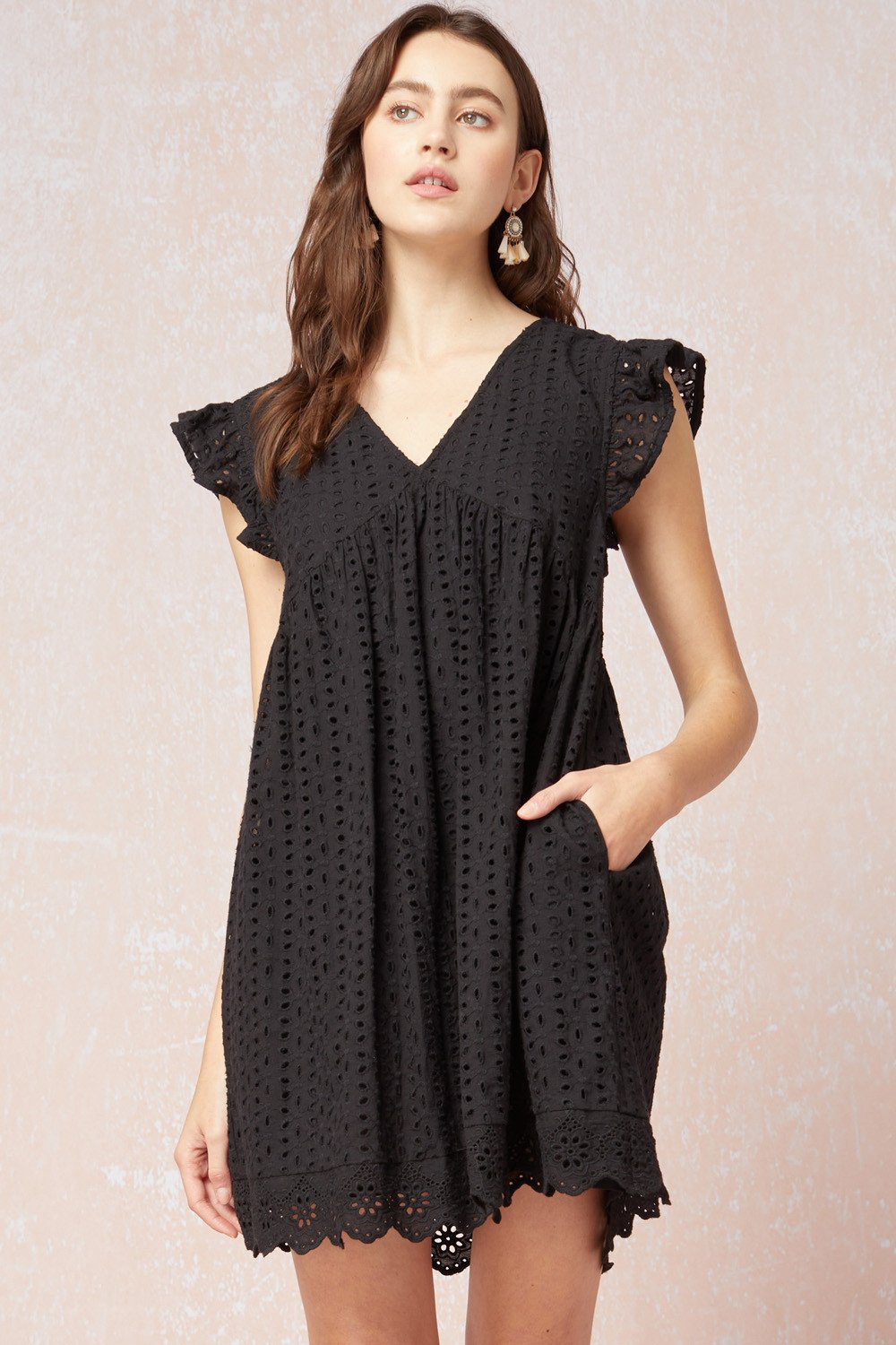 ENTRO INC Women's Dress Crochet Eyelet Ruffle Sleeve Babydoll Dress || David's Clothing