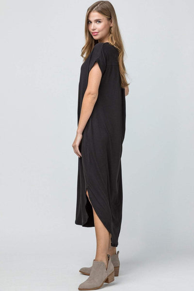 ENTRO INC Women's Dress Entro V-Neck Maxi Dress with Side Pockets || David's Clothing