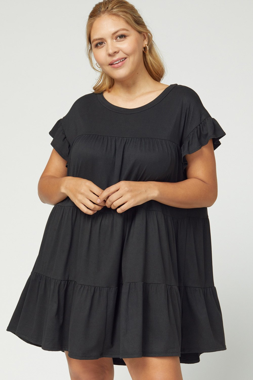 ENTRO INC Women's Dress Solid Tiered Scoop-Neck Dress - Plus Size || David's Clothing