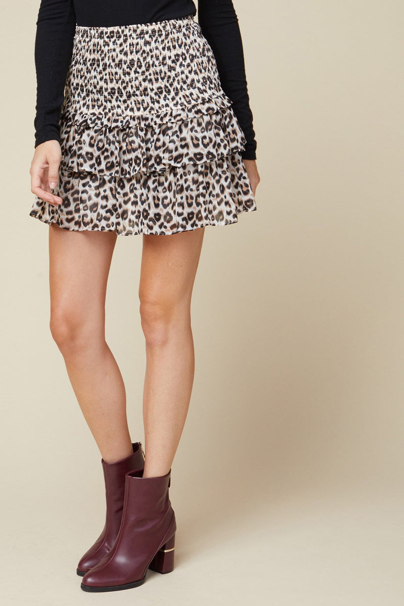 ENTRO INC Women's Skirts Leopard Print Tiered Ruffle Skirt || David's Clothing