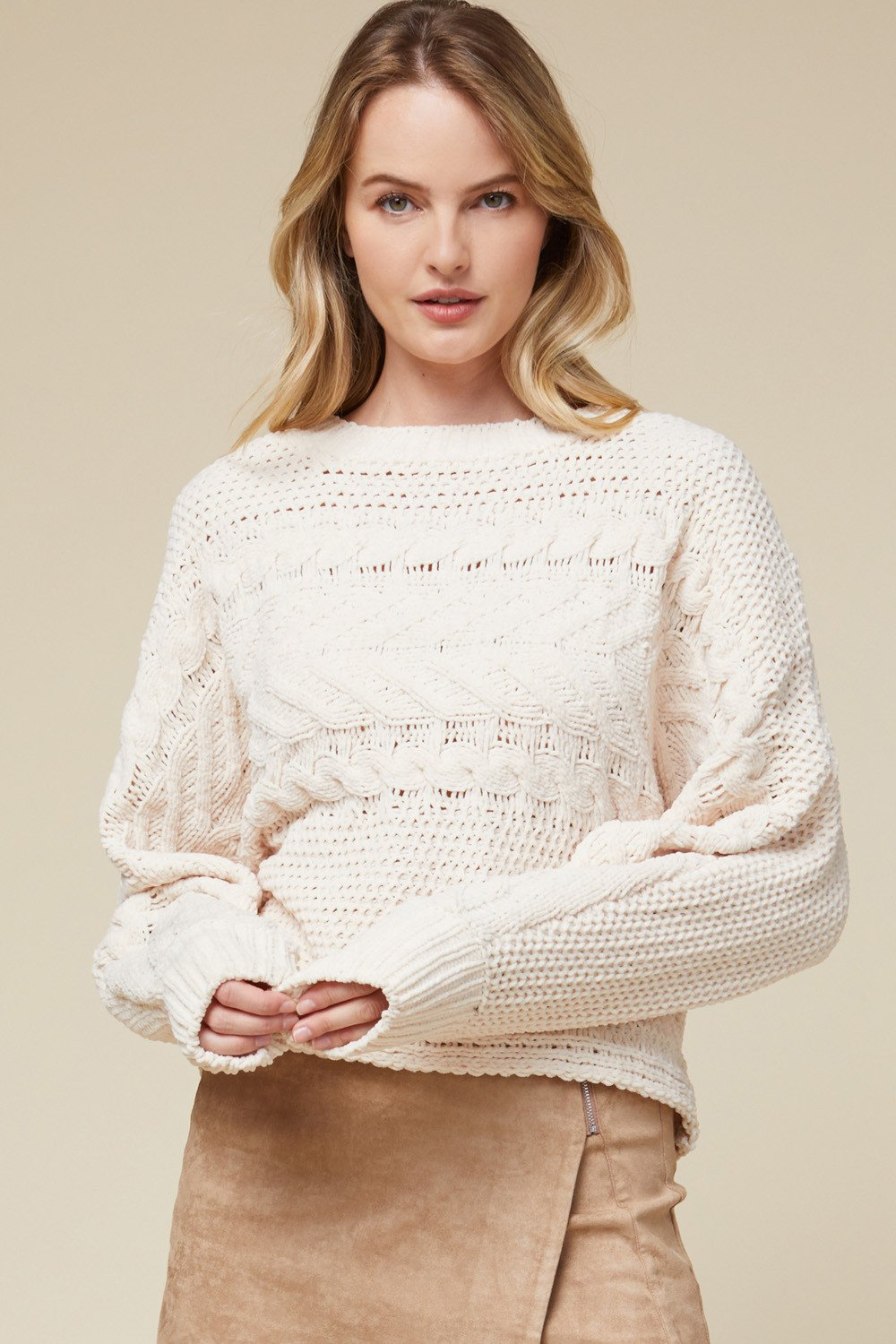 ENTRO INC Women's Sweater Chenille Knit Cropped Pullover Sweater || David's Clothing