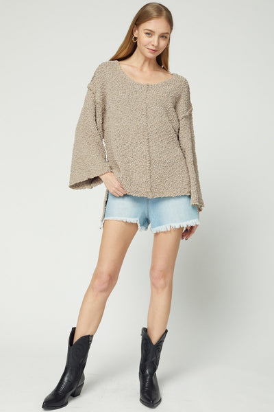 ENTRO INC Women's Sweater Shaggy Scoop-Neck Sweater Top || David's Clothing