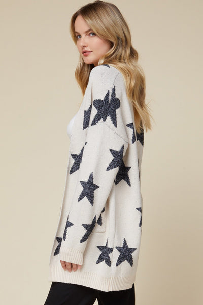 ENTRO INC Women's Sweater Star Print Open Front Cardigan || David's Clothing