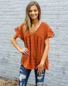 ENTRO INC Women's Top Dotted Swiss Print V-Neck Babydoll Top - Rust || David's Clothing