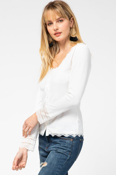 ENTRO INC Women's Top Entro Ribbed Button-Up Scoop-Neck Top || David's Clothing