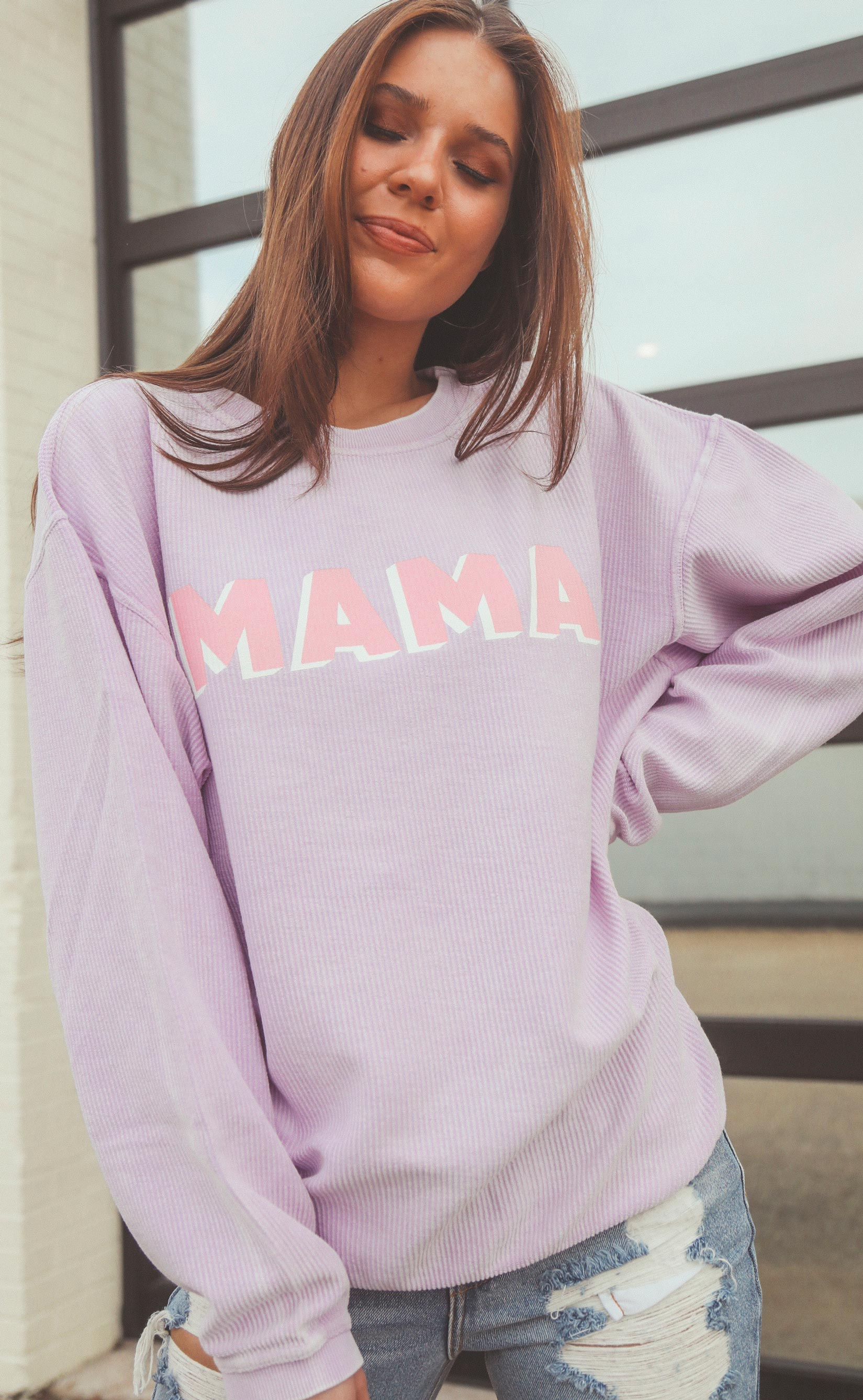 FRIDAY AND SATUR Women's Sweater Friday + Saturday: Mama Corded Sweatshirt - Lilac || David's Clothing