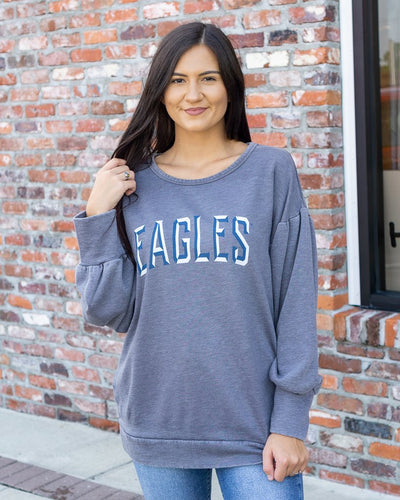GAMEDAY COTURE Women's Sweater Georgia Southern Eagles Bubble Sleeve Sweatshirt || David's Clothing